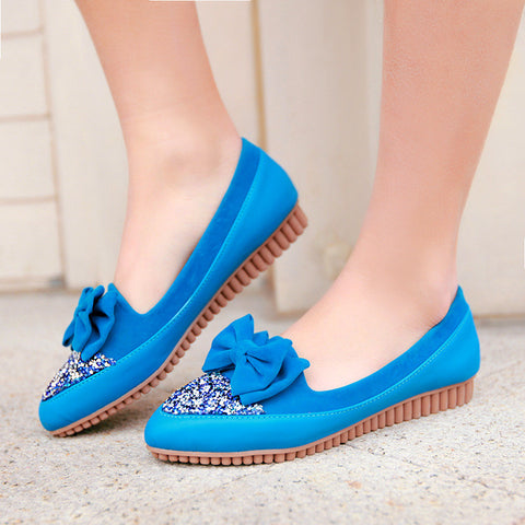 Bowtie Women Flats Pregnant Shoes Glitter Loafers
