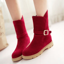 Load image into Gallery viewer, Round Toe Ankle Boots Artificial Suede Buckle Shoes Woman 3327
