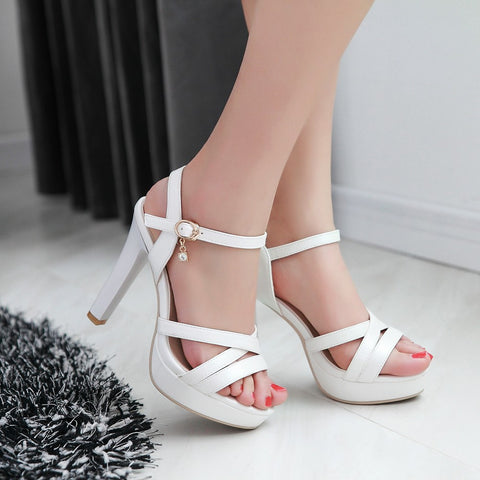 Women Ankle Straps Buckle Sandals Pumps Platform High-heeled Shoes