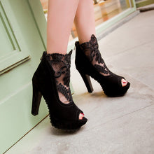 Load image into Gallery viewer, Women Platform Gladiator Boots Summer Black Lace Peep Toe Zipper High Heels Shoes Woman 2016 3505