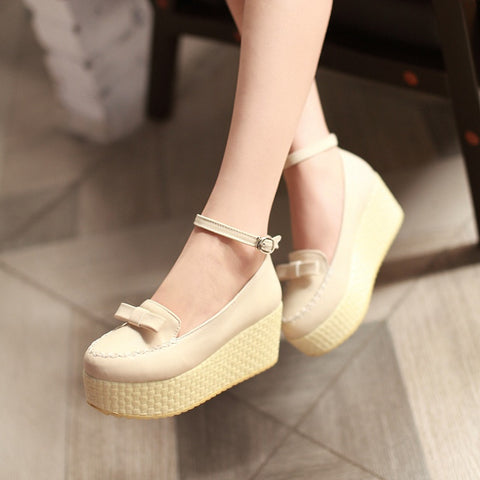 Bow Women Wedges High Heels Shoes 7852
