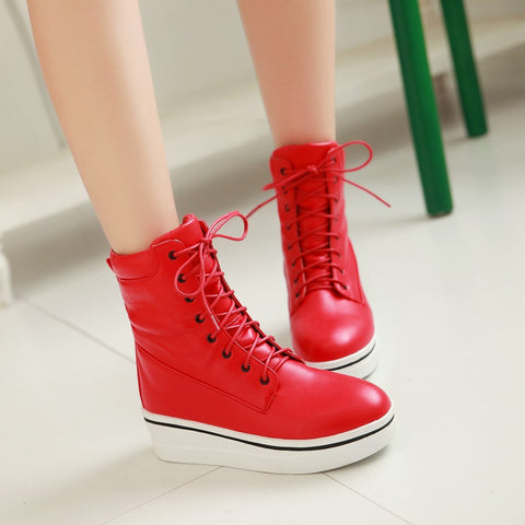 Lace Up Wedges Boots Women Shoes Fall|Winter