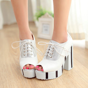 Lace UP Platform Sandals Women Chunky Heel Pumps Peep Toes High Heels Shoes Woman