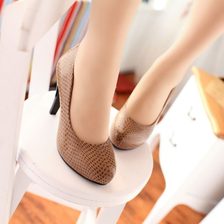 Soft Leather Women Platform Pumps High Heels Shoes Woman