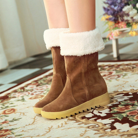 Bowtie Snow Boots Platform Fur Winter Shoes Woman 3288 3288