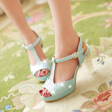 Platform Sandals Rhinestone T Straps Women Pumps High Heels Bridal Shoes Woman 3548