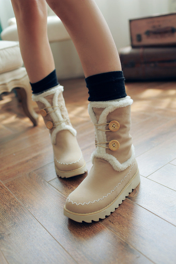 Snow Boots with Button Platform Winter Fur Shoes Woman 3271 3271