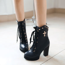 Load image into Gallery viewer, Fashion New 2016 Women Boots Shoes with Studded Pu Leather Ankle Boots Lace Up 5312