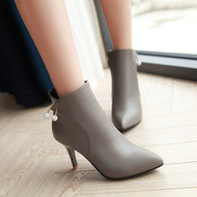 Load image into Gallery viewer, Rhinestone Pointed Toe High Heels Ankle Boots Zipper Women Shoes 76162986