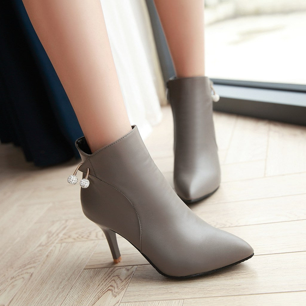 Rhinestone Pointed Toe High Heels Ankle Boots Zipper Women Shoes 76162986