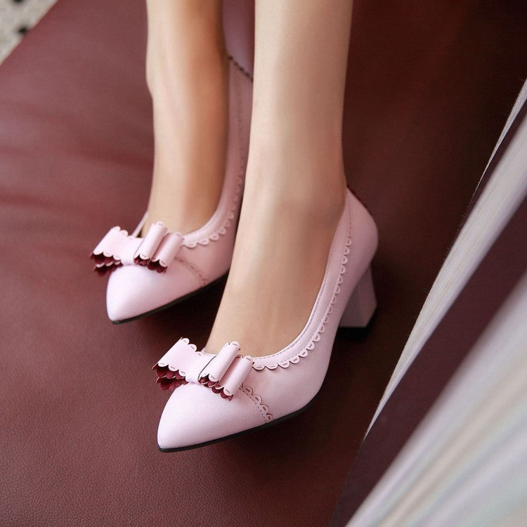 Pointed Toe Bow High Heels Chunky Heel Pump 5853