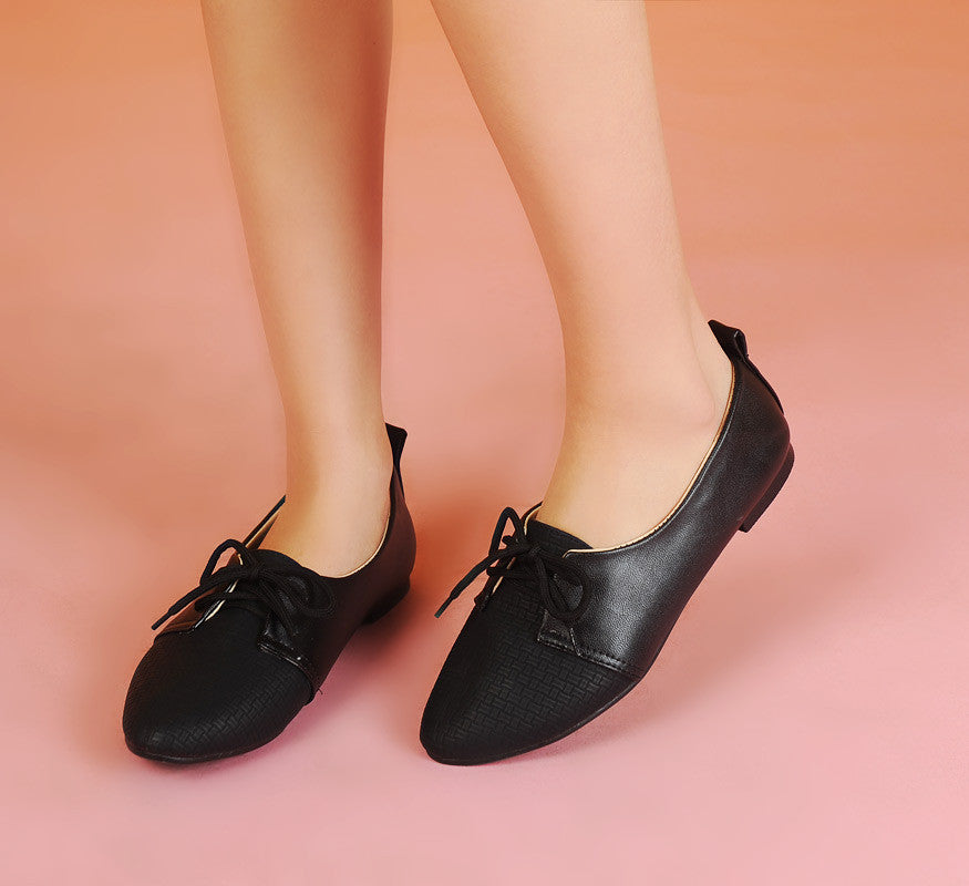 Pointed Toe Lace Up Women Flats Casual Shoes 6485
