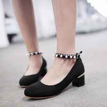 Load image into Gallery viewer, Round Toe Pearl Women Pumps Ankle Straps High Heels Shoes
