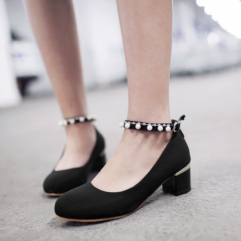Round Toe Pearl Women Pumps Ankle Straps High Heels Shoes
