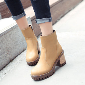 Ankle Boots for Women Medium Heel Pu Leather Autumn Winter Round Toe Shoes Woman 2700