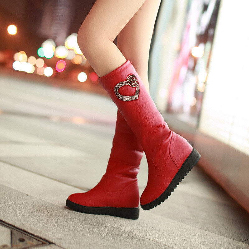 Rhinestone Knee High Boots Winter Platform Wedges Shoes Woman 3283 3283