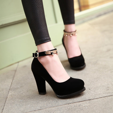 Buckle Women Platform Pumps Black High Heels Dress Shoes Woman