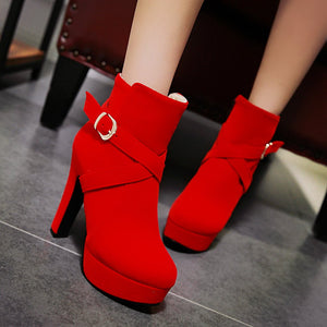 Buckle Zipper Women Ankle Boots Platform High Heels Shoes Woman 7587