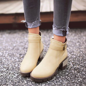 Women Ankle Boots with Buckle Pu Leather High Heels Square Heel Shoes Woman 7581