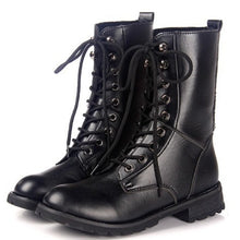 Load image into Gallery viewer, Black Motorcycle Boots Lace Up Ankle Boots Pu Leather Shoes Woman 3302 3302