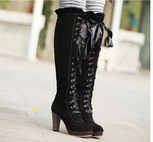 Load image into Gallery viewer, Ribbons Lace Up Platform Knee High Boots High Heels 4140