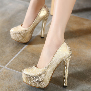 Round Toe Women Platform Pumps High Heels PU Leather Printed Shoes Woman