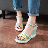 Women Beach Sandals Ankle Straps Wedges Platform High-heeled Shoes