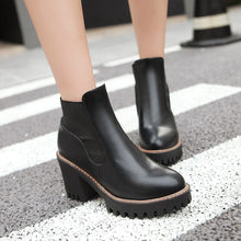 Load image into Gallery viewer, Round Toe Pu Leather High Heels Ankle Boots Thick Heel Women Shoes 76078849