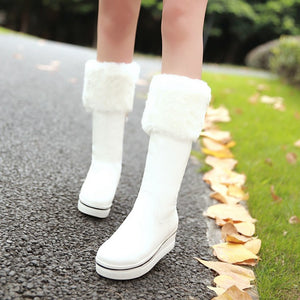 Women Winter Snow Boots Fur Platform Shoes Woman 2016 3464