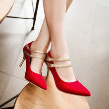 Load image into Gallery viewer, Double Ankle Straps Spike Gold Heel Women Pumps Wedding Shoes 9048