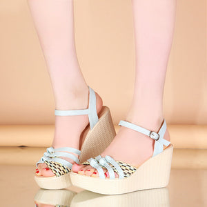 Fashion Ankle Straps Wedges Sandals Pumps Platform High Heels Women Dress Shoes 8576