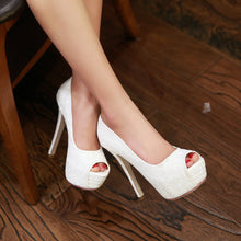 Load image into Gallery viewer, Sexy Peep Toes Glitter Pumps Platform High Heels Fashion Women Shoes 6374