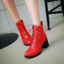 Load image into Gallery viewer, Studded High Heels Motorcycle Boots Lace Up Women Shoes
