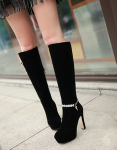 Rhinestone Knee High Boots High Heels Women Shoes Fall|Winter 8014