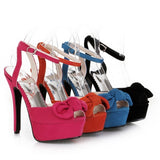Bowtie Platform Sandals Ankle Straps Peep Toes Women Pumps High Heels Shoes Woman