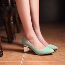 Load image into Gallery viewer, Striple Chunky Heel Pumps Platform High Heels Fashion Women Shoes 7382
