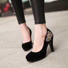 Load image into Gallery viewer, Rhinestone Pumps Love Pattern High Heels Platform Shoes Woman