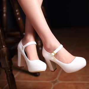Ankle Straps Chunky Heel Pumps Platform High Heels Fashion Women Shoes 3348