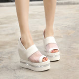 Women Wedges with Mesh Rhinestone Back Zipper Loafers Platform Shoes
