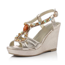 Load image into Gallery viewer, Rhinestone Platform Sandals Women Wedges Ankle Wrap Beach Shoes Woman
