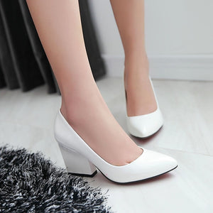Pointed Toe High Heels Chunky Pumps Women 9889