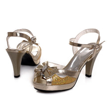 Load image into Gallery viewer, Bowtie Platform Sandals Peep Toe Rhinestone Women Pumps High Heels Shoes Woman 3440
