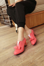 Load image into Gallery viewer, Bowtie Women Pumps PU Leather Pointed Toe High Heels Shoes Woman