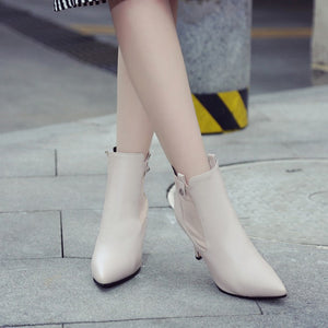 Pointed Toe High Heels Ankle Boots Stiletto Heel 8949