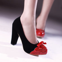 Load image into Gallery viewer, Women Chunky Heel Pumps with Bow High Heels Dress Shoes 8797