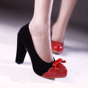 Women Chunky Heel Pumps with Bow High Heels Dress Shoes 8797