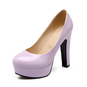 Patent Leather Pumps Platform High Heels Women Shoes 6092