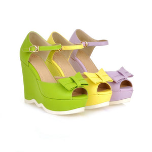 Fashion-Bow-Wedges-Sandals-Women-Pumps-Platform-Shoes 2735