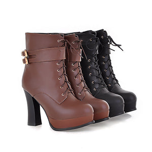 Black and Brown Motorcycle Boots Lace Up Buckle High Heels Platform Shoes Woman