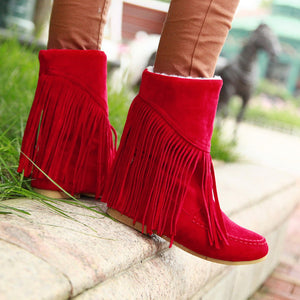 Tassel Snow Boots Winter Lamb Wool Wedges Shoes Woman 3340